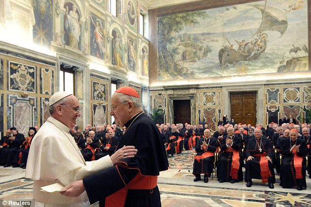 Controversy: Pope Francis (seen greeting Cardinal Angelo Sodano) was accused of complicity with the junta that kidnapped, tortured and murdered 30,000 dissidents during the 'Dirty War'