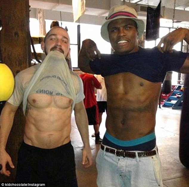 LaBuff! Actor Shia LaBeouf shows off his toned body as he trains with boxer Peter Quillin