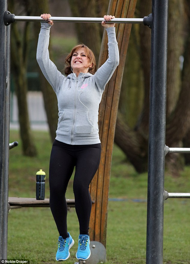 Back on it! Natalie Cassidy was seen putting herself through her paces in a gruelling workout in her local park as reports emerged that she has signed up for another fitness DVD