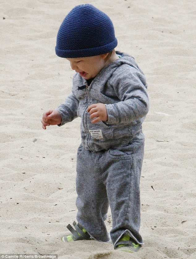 Growing up fast: It wasn't long before the youngster was confidently up on his feet - much to the delight of his family