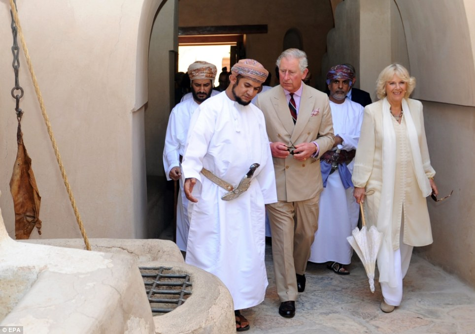 Walkabout: Having washed their hands the Royal couple are given a guided tour of the fort during their last leg of their tour of the Middle East