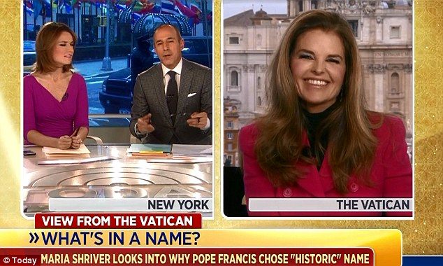 Laughs: Ms Shriver, pictured right, laughed and joked with Savannah Guthrie and Matt Lauer, pictured left