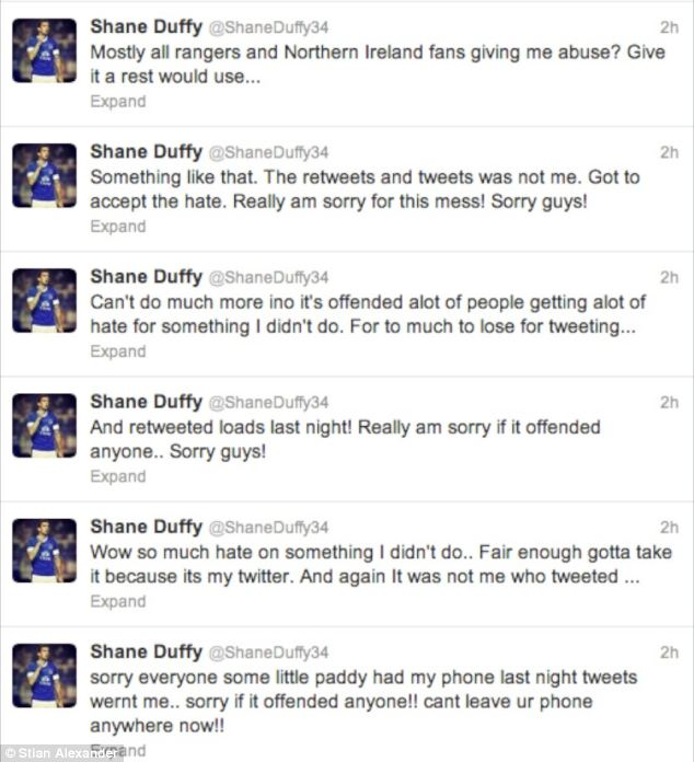 Shane Duffy posted a series of apologies for the retweet, which said 'UP THE RA' and claimed it was not him who reposted the message