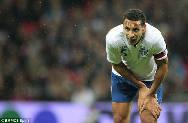Rio Ferdinand playing for England