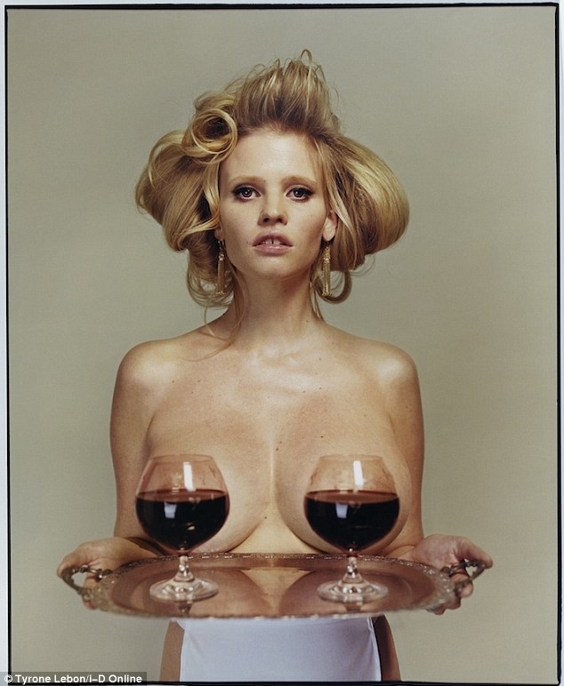 Are you being served? Lara Stone has posed topless in her latest shoot for i-D Magazine, with just wine glasses covering her modesty