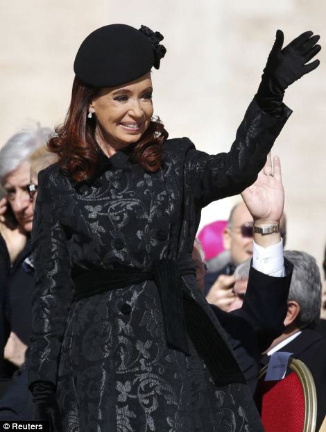 Argentina's President Cristina Fernandez de Kirchner arrives for the inaugural mass
