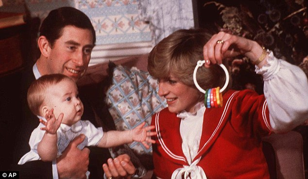 Prince William, pictured in 1982 with his parents Charles and Diana, had a Dragons nursery as a baby