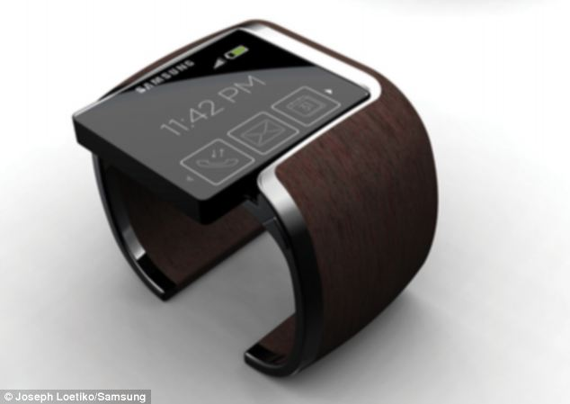 Samsung's watch concept shows a solid wooden band, and the watch face can be simply slipped out and put in a pocket when running, for example