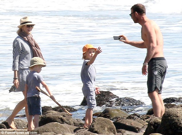 Busy lady: Liev Schreiber's wife explained that she hardly gets any sleep as she parents sons Sasha and Kai