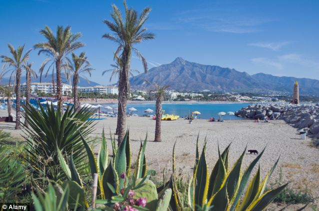 Relaxing: Marbella is a popular holiday destination for thousands of British tourists