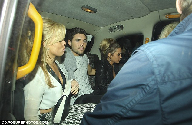 Taxi for... six? Tom and his pals headed home with a group of blondes following the night out