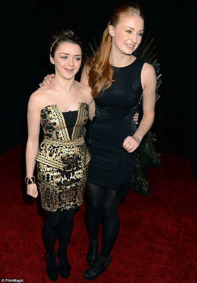 Onscreen siblings: Maisie Williams and Sophie Turner smiled together on the red carpet