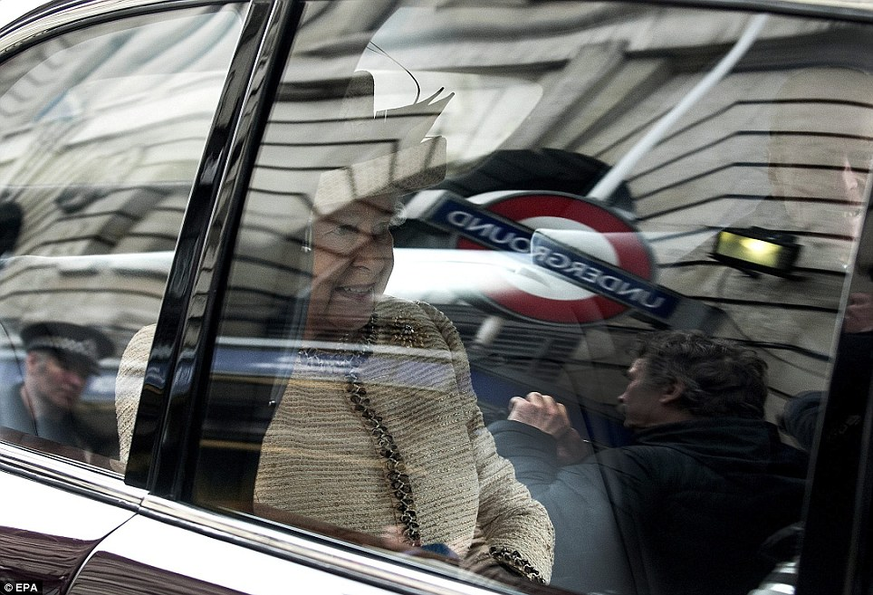 Successful: Queen Elizabeth II, leaves the Baker Street Tube station in London after inspecting a restored 1892 carriage and the S7 trains, which will be named Queen Elizabeth II, in her honour