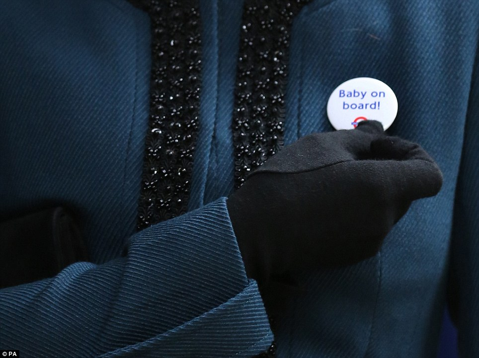 'Making a difference': The Duchess of Cambridge was told the badge saves men the embarrassment of having to guess whether a woman is pregnant or not so they can offer them a seat on the Tube