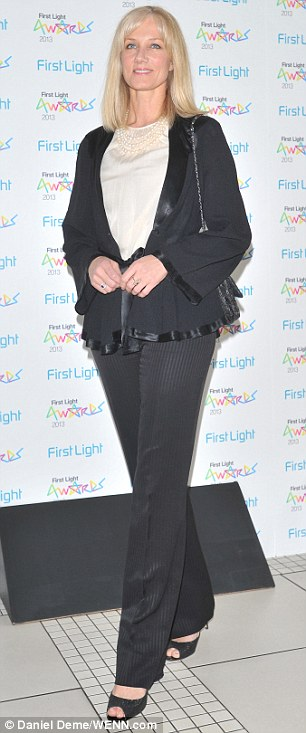 Keeping it simple: Joely Richardson wore a simple black trouser suit to the awards ceremony, while Olivia Williams looked prim and proper in a plaid checked jacket and a denim shift dress