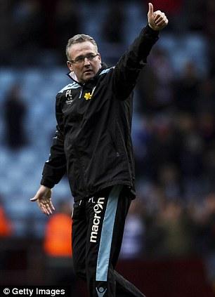 Thumbs up: Aston Villa manager Paul Lambert is an admirer of Sinclair's talent