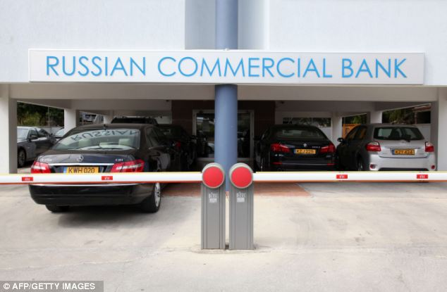 A branch of a Russian bank in the Mediterranean city of in Limassol. Up to £30billion of Russian money is stashed on the island, in what financial services insiders claim is a massive money-laundering operation for oligarchs