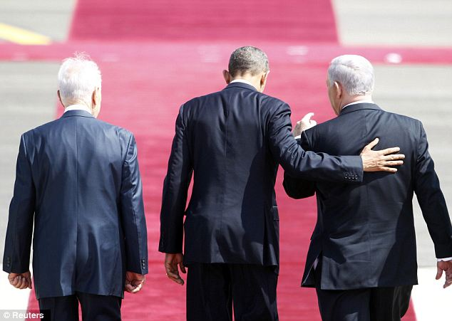 Being heard: Mr Obama will spend much of his trip in Israel talking with President Peres (left) and Prime Minister Netanyahu (right)