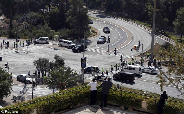 Make way: Obama has also come under fire for requiring so many of the streets of Jerusalem to be closed for security even though it is the lead up to the very busy holiday weekend of Passover