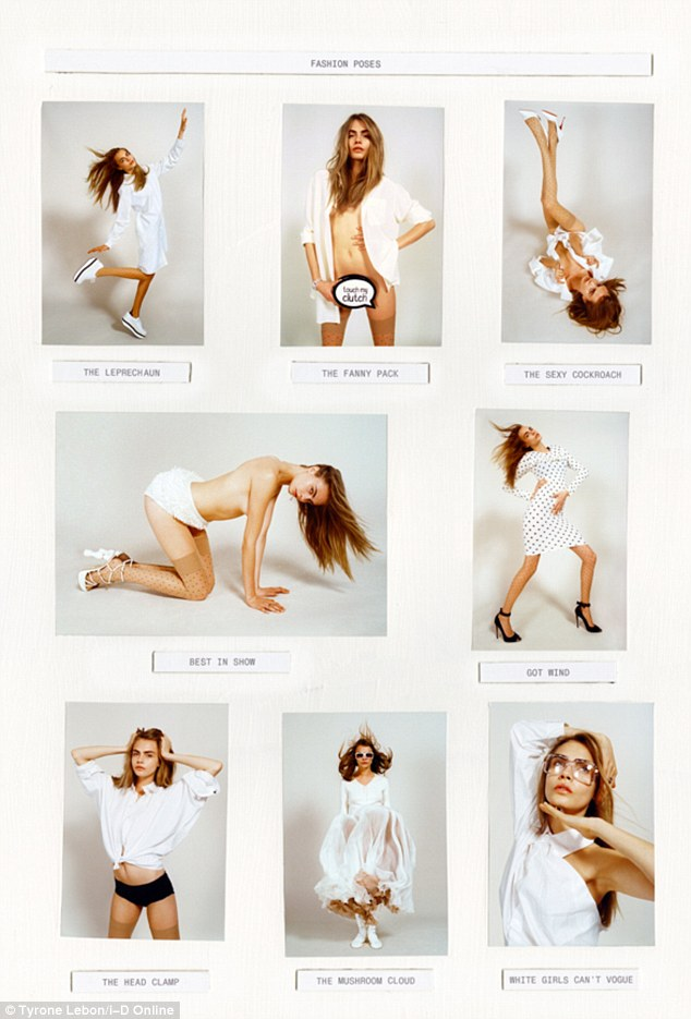 Stripping off: Cara adopts provocative poses as she wears white in a number of different shots