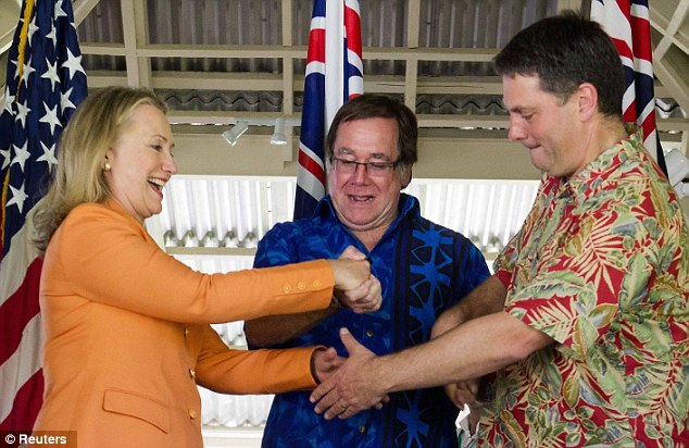 Australian Parliamentary Secretary Richard Marles (pictured right shaking hands with Hillary Clinton and New Zealand's Foreign Minister Murray McCully) told parliament that it might be tough for spies to follow hazard reduction to a tee