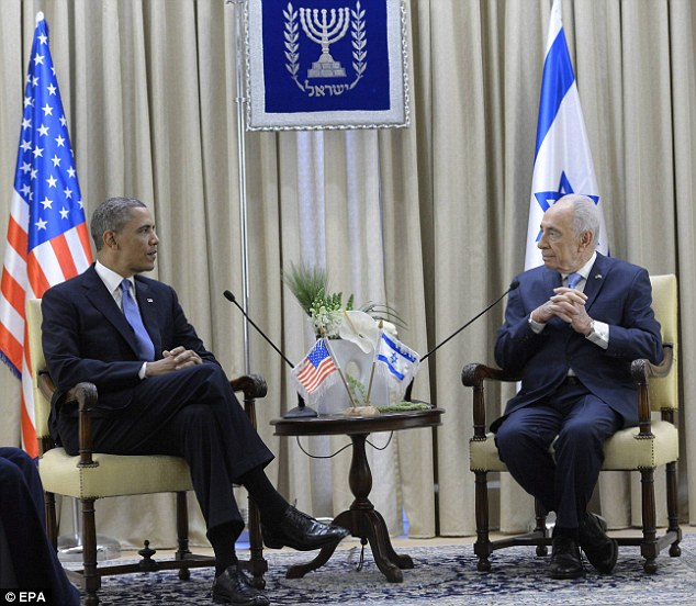 Meet and greet: Obama met with Israel's President Shimon Peres at his residence in Jerusalem on Wednesday