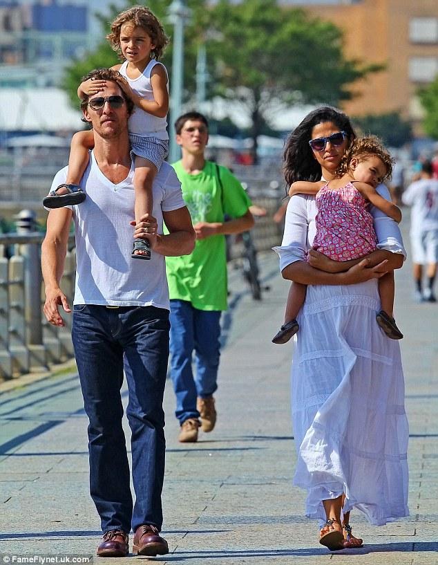 Model mother: Camila Alves with their children Vida  and Levi McConaughey