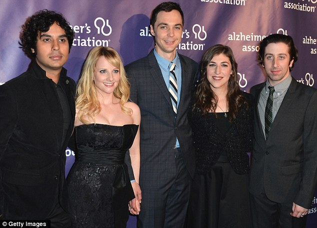 On-screen family: Kunal Nayyar, Melissa Rauch, Jim Parsons, Mayim Bialik and Mitch Hurwitz looked far from their appearances on stage and TV
