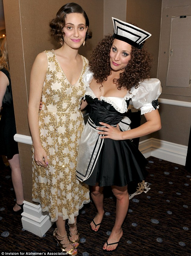 Tongue-in-cheek: Actresses Emmy Rossum, left, and Kaley had fun at the star-studded gathering
