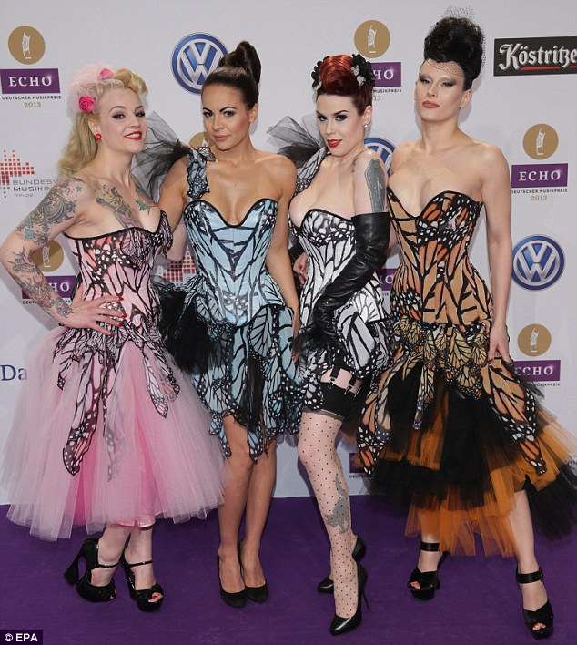 Wacky: German girl group Sinderellas didn't go unnoticed in their flamboyant outfits