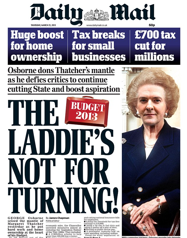 Splash: The Daily Mail front page that made Chancellor George Osborne choke on his toast this morning