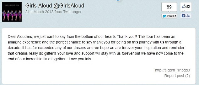 Big announcement: Girls Aloud announced they were parting ways on Twitter