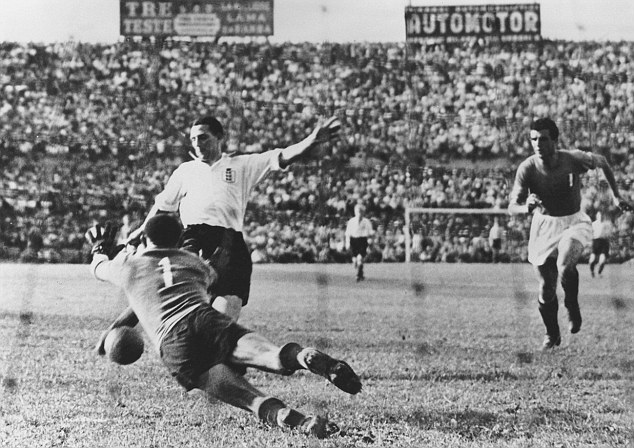 Hot shot: Tommy Lawton, in action here against Italy in 1948, scored four times against Portugal