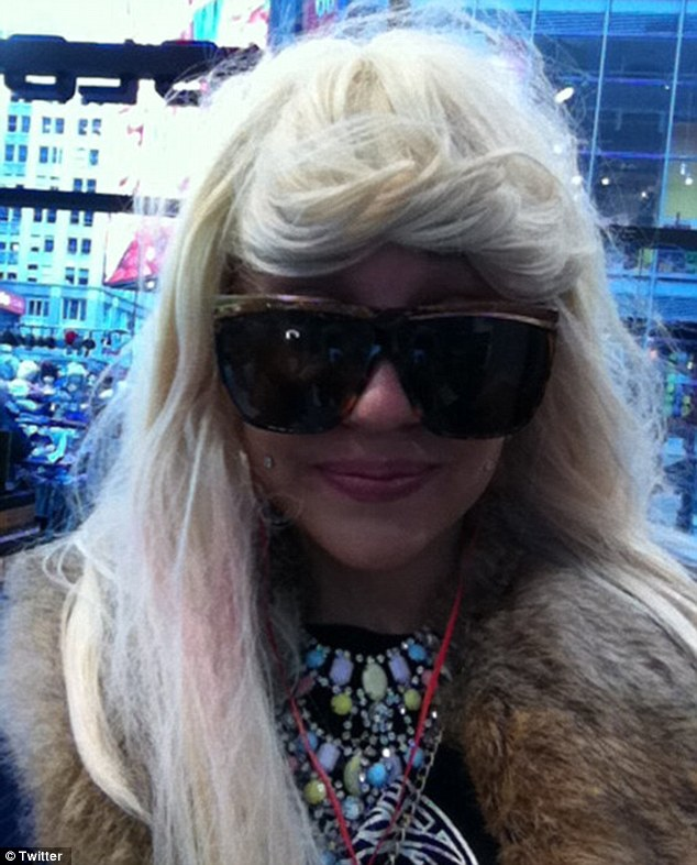 Platinum tresses: She had shown off her blonde wig look on Twitter in February