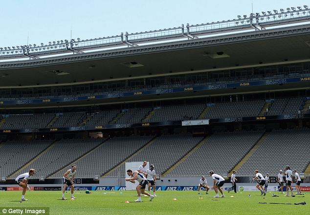 England take part in a fielding drill at Eden Park