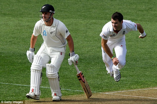 Steaming in: James Anderson opened the bowling for England at Eden Park