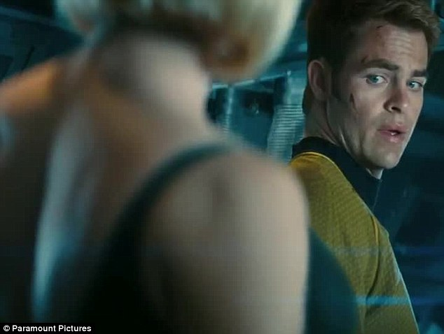 Eyes front captain: Chris Pine could not help but stare as he acted out the scene with the English actress