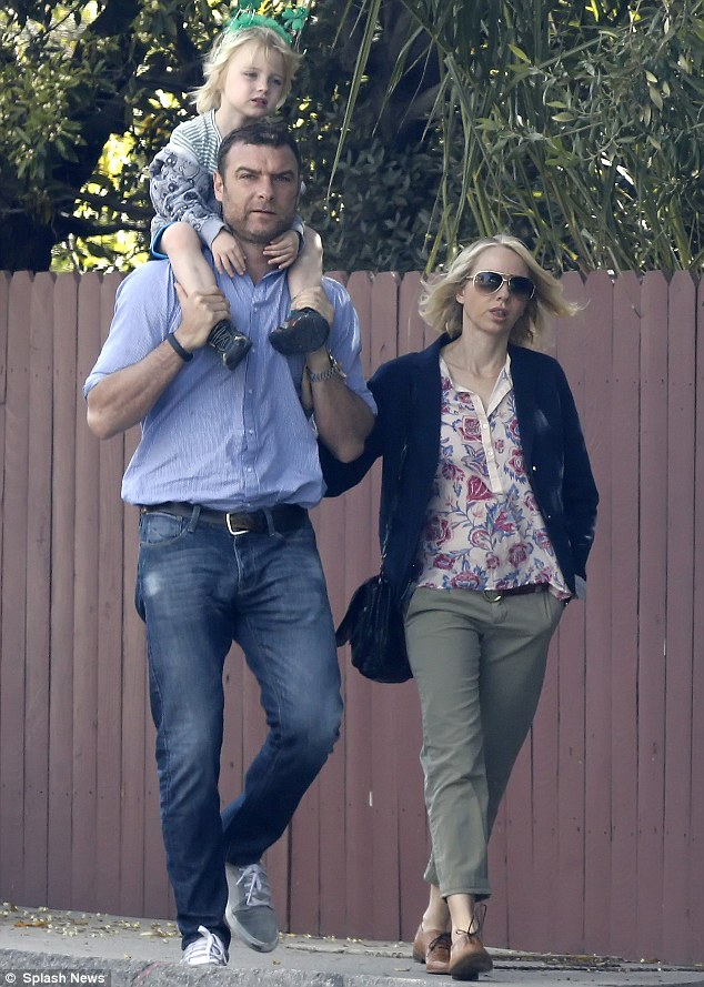 Family trip: Naomi Watts and Liev Schreiber took their son Kai out for the day in Los Angeles, California on Thursday