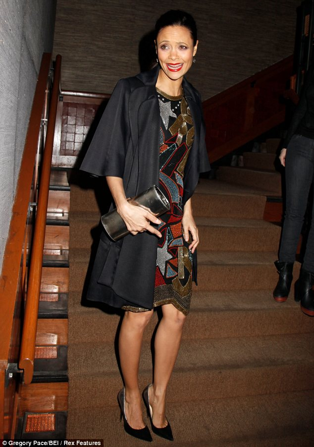 Who's laughing now! Thandie enjoys the night where she is the main attraction