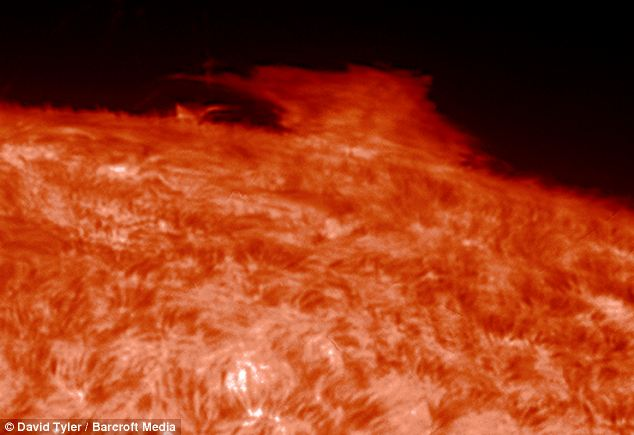 The telescope was fitted with a hydrogen alpha filter to capture these incredible shots from 93 million miles away