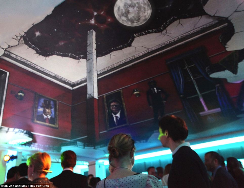 'Raise The Roof' was created for the Google party At The World Economic Forum in Davos and was painted on the ceiling rather than the ground