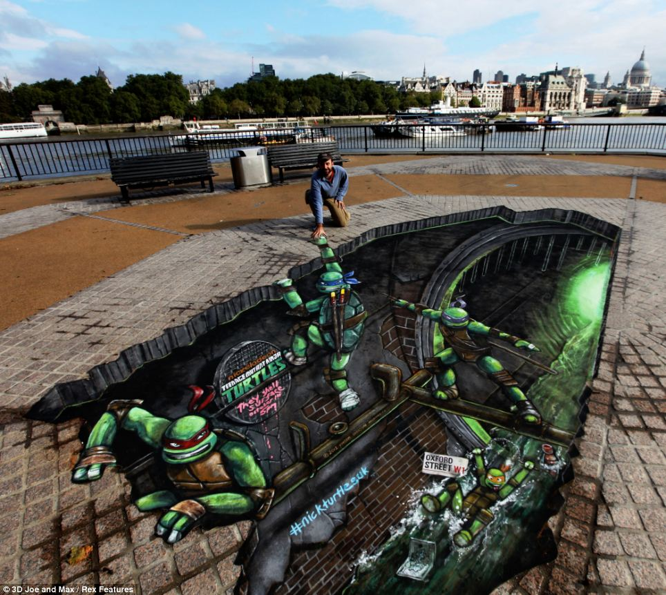 On the Southbank in London this street art showed the cartoon charactors the Teenage Mutant Ninja Turtles escaping from the sewer ahead of a new Nikelodeon series