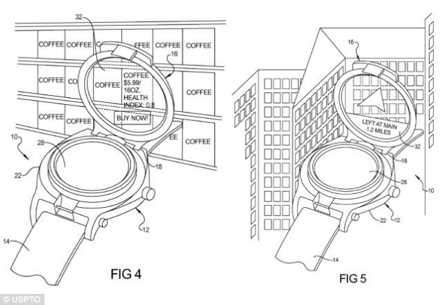 Google's patents for a smartwatch show a traditional looking screen with a 'flip-up' second display which can show directions or private messages