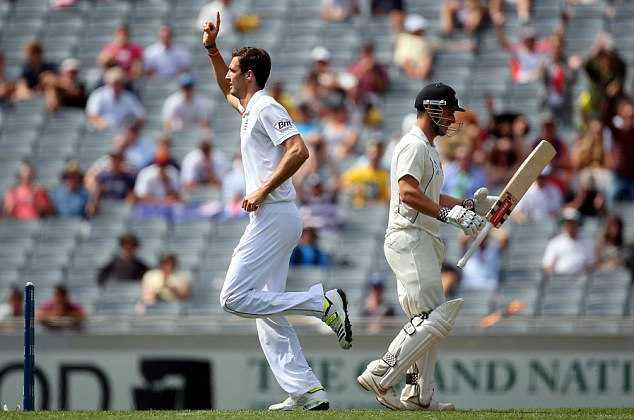 Finn when you're winning: The England seamer celebrates removing Rutherford