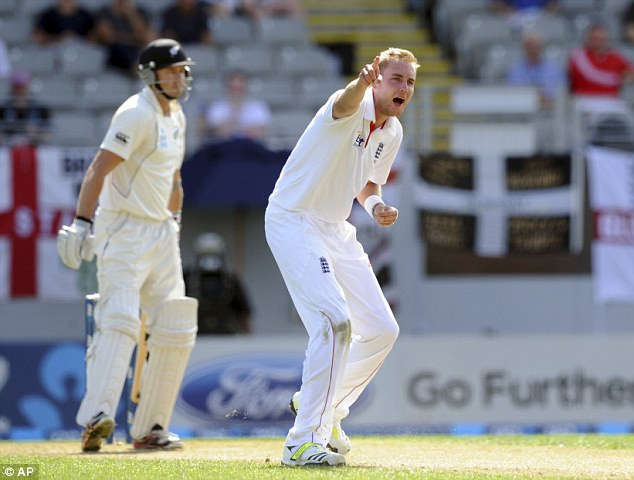 Broad appeal: The England seamer poses the question to the umpires