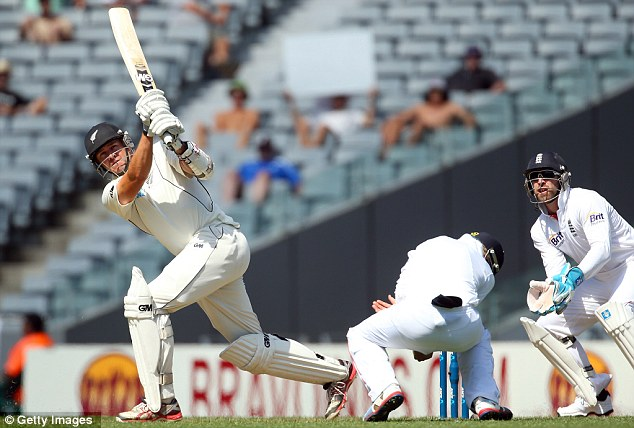 On the attack: Fulton clobbered a few sixes in the afternoon session