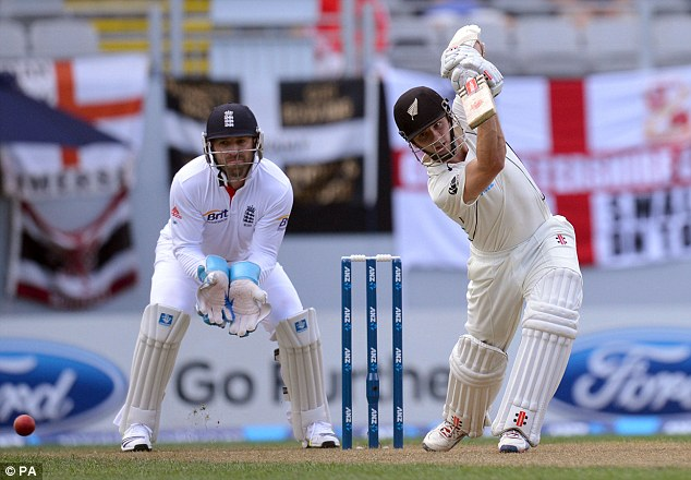 Accumulating: Kane Williamson piled on the runs on day one