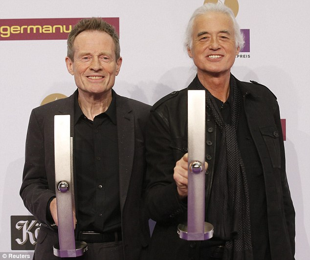 Rock legends: John Paul Jones (left) and Jimmy Page of the band Led Zeppelin with their Lifetime Achievement honours