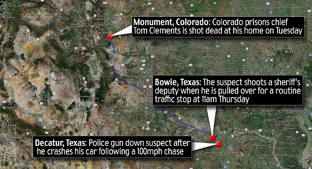 Long journey: Ebel was killed 650 miles from Monument, Colorado, where prisons chief Tom Clements was murdered