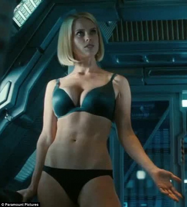 Wonder if he will mention this in his log: Captain Kirk is distracted when Alice Eve strips to her smalls in the new Star Trek Into Darkness trailer